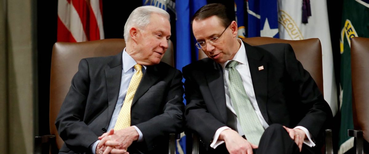 United States Attorney General Jeff Sessions speaks with Deputy Attorney General Rod Rosenstein at a summit about combating human trafficking at the Department of Justice in Washington, U.S., February 2, 2018. REUTERS/Aaron P. Bernstein | DOJ Gives Congress Missing Strzok Texts