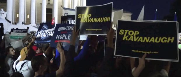 Anti-Kavanaugh protestors outside the US Supreme Court. (YouTube screenshot/Washington Post)