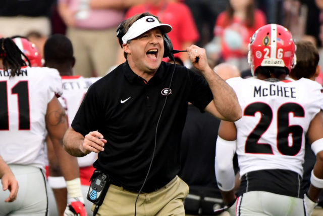 PASADENA, CA - JANUARY 01: Head Coach Kirby Smart of the Georgia Bulldogs reacts in the 2018 College Football Playoff Semifinal Game against the Oklahoma Sooners at the Rose Bowl Game presented by Northwestern Mutual at the Rose Bowl on January 1, 2018 in Pasadena, California. (Photo by Harry How/Getty Images)