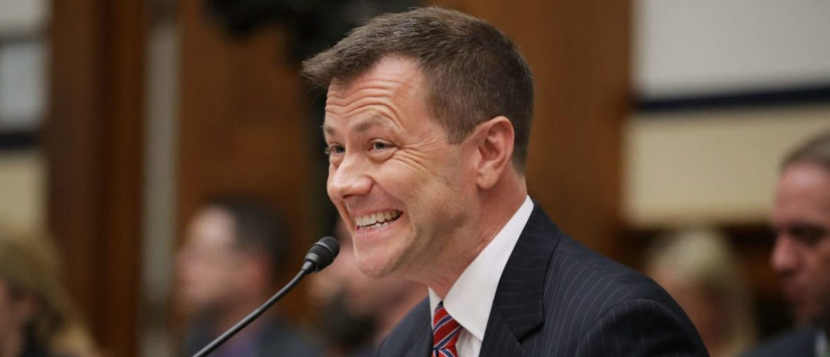 WASHINGTON, DC - JULY 12: Deputy Assistant FBI Director Peter Strzok testifies before a joint committee hearing of the House Judiciary and Oversight and Government Reform committees in the Rayburn House Office Building on Capitol Hill July 12, 2018 in Washington, DC. While involved in the probe into Hillary ClintonÕs use of a private email server in 2016, Strzok exchanged text messages with FBI attorney Lisa Page that were critical of Trump. After learning about the messages, Mueller removed Strzok from his investigation into whether the Trump campaign colluded with Russia to win the 2016 presidential election. (Photo by Chip Somodevilla/Getty Images)