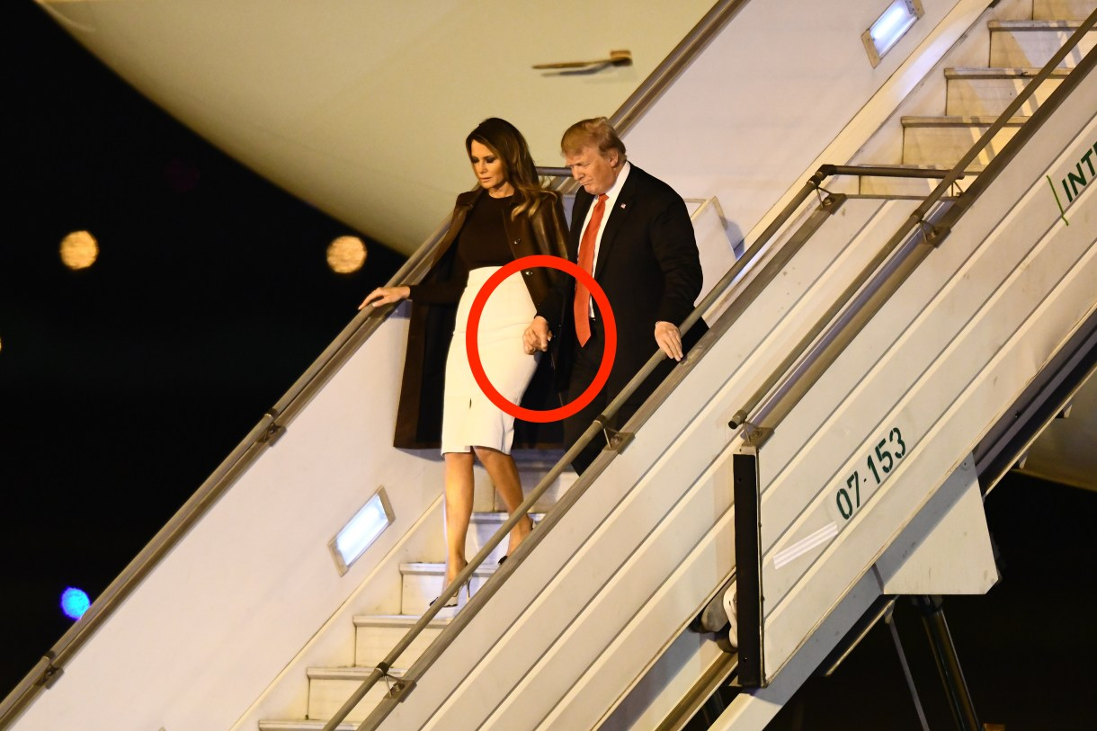 BUENOS AIRES, ARGENTINA - NOVEMBER 29: U.S. President Donald Trump and his wife Melania Trump descend from the Air Force One on their arrival to Buenos Aires for G20 Leaders' Summit 2018 at Ministro Pistarini International Airport on November 29, 2018 in Ezeiza, Buenos Aires, Argentina. Leaders of the G20 group of nations are meeting for the November 30th - December 1st summit. Amilcar Orfali/Getty Images