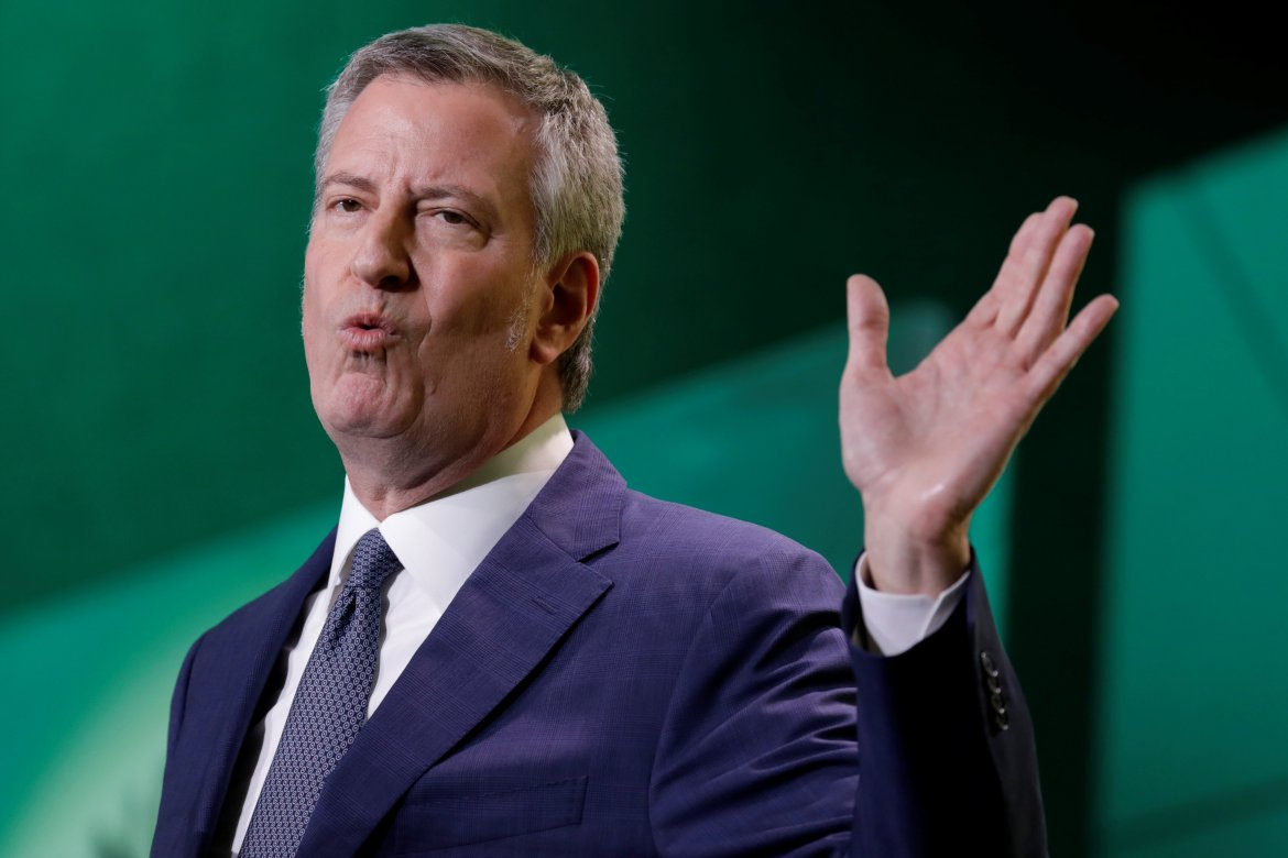 New York City Mayor Bill de Blasio delivers remarks at the United States Conference of Mayors winter meeting in Washington, U.S., January 24, 2019. REUTERS/Yuri Gripas