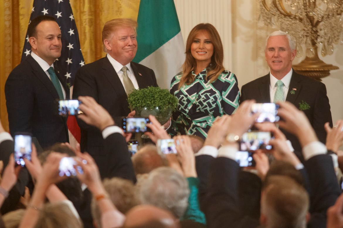 Taoiseach Leo Varadkar of Ireland, President Donald Trump, First Lady Melania Trump, and Vice President Mike Pence pose for a photo during the Shamrock Bowl Presentation with Prime Minister of Ireland Leo Varadkar on March 14, 2019 at the White House in Washington, DC. (Photo by Tom Brenner/Getty Images)