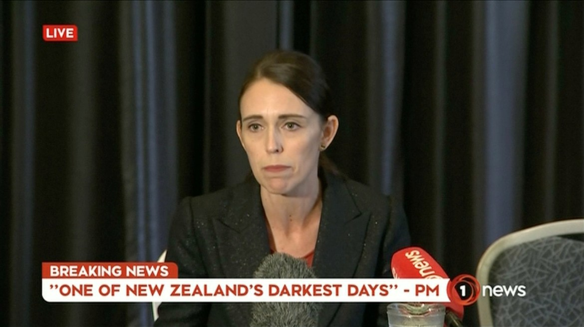 New Zealand's Prime Minister Jacinda Ardern speaks on live television following fatal shootings at two mosques in central Christchurch, New Zealand March 15, 2019, in this still image taken from video. TVNZ/via REUTERS TV