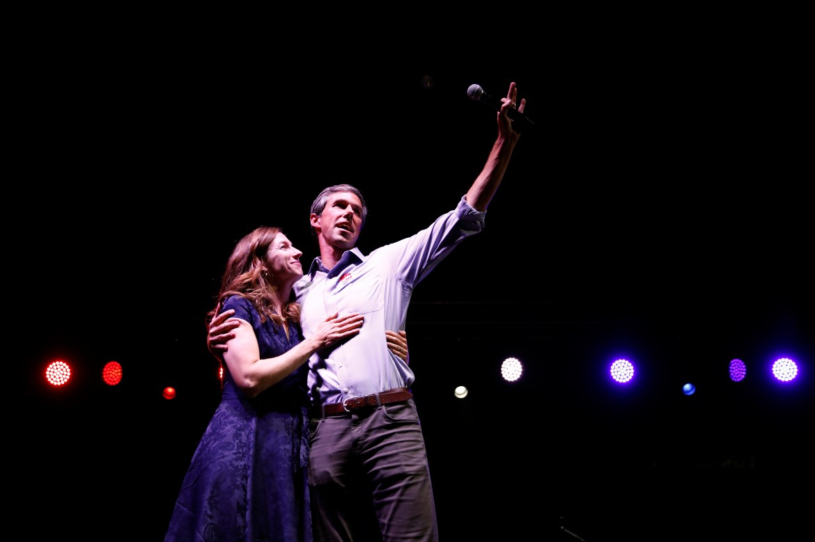 Democratic Texas U.S. Senate candidate Rep. Beto O'Rourke embraces his wife Amy as he concedes to Senator Ted Cruz at his midterm election night party in El Paso, Texas, U.S., November 6, 2018. REUTERS/Adria Malcolm