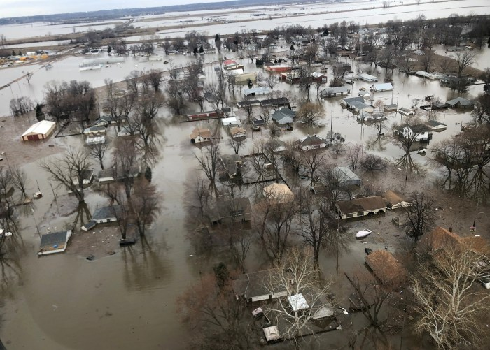 Flood damage is shown in this earial photo in Percival, Iowa, U.S., March 29, 2019. Photo taken March 29, 2019. REUTERS/Tom Polansek