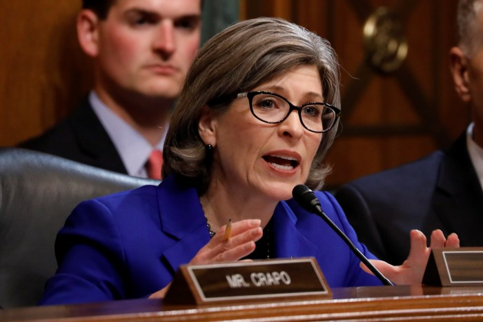 Sen. Joni Ernst (R-IA) asks a question as U.S. Attorney General William Barr testifies before a Senate Judiciary Committee hearing on Capitol Hill in Washington
