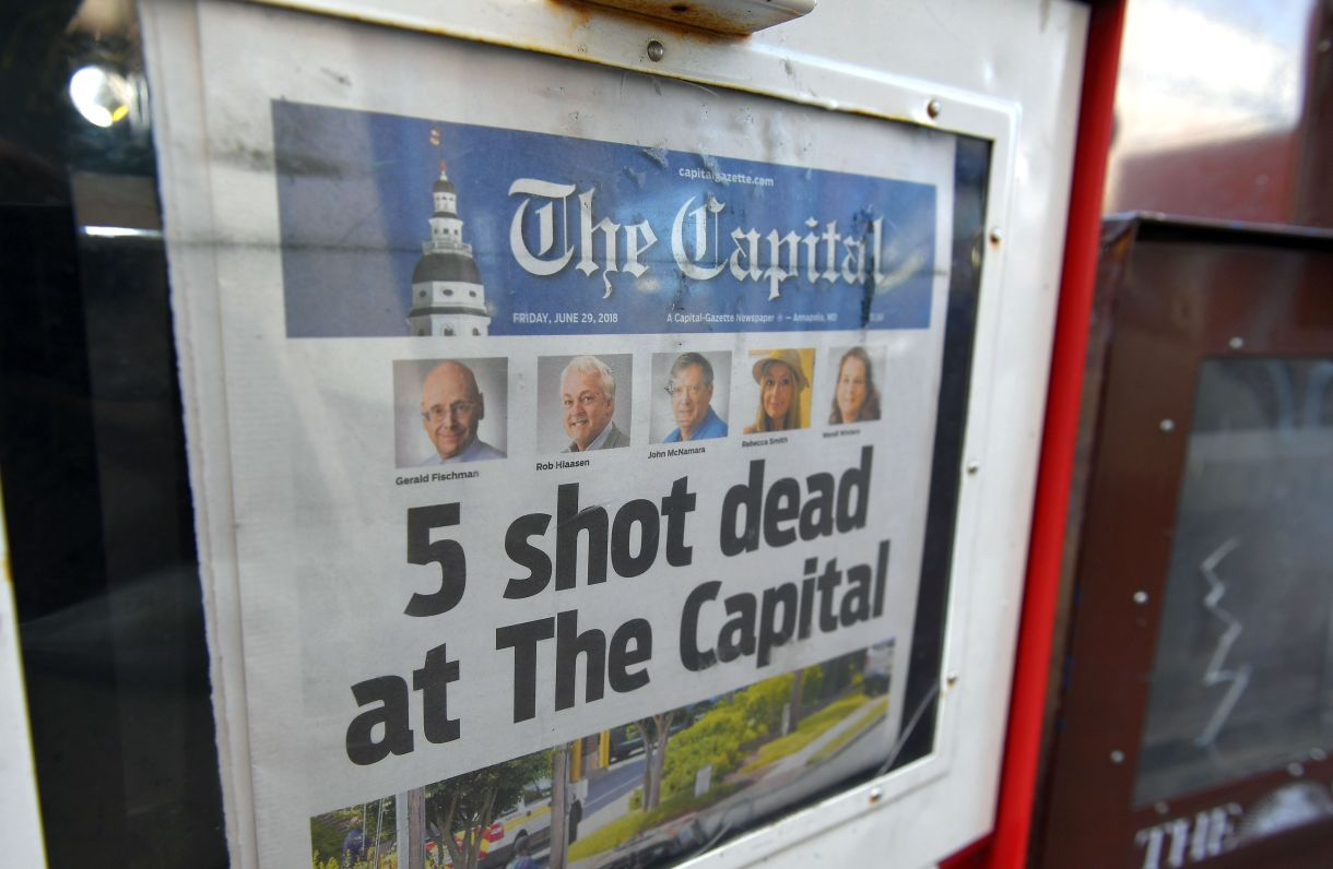 The Capital Gazette of June 29, 2018, is seen in a newspaper vending box in Annapolis, Maryland. (MANDEL NGAN/AFP/Getty Images)