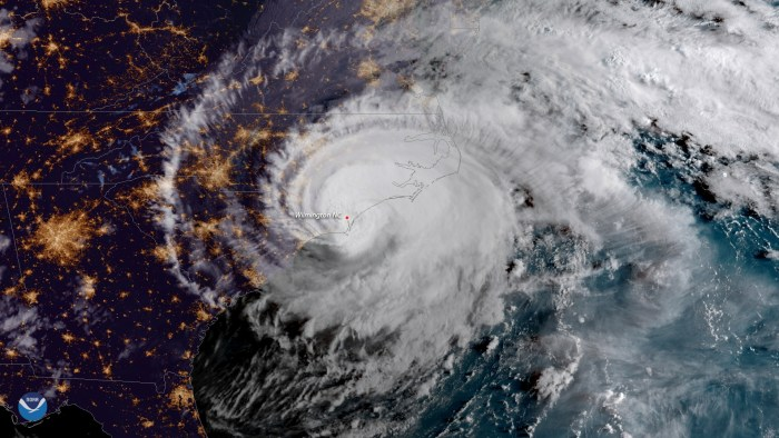 Hurricane Florence is shown from a National Oceanic and Atmospheric Administration (NOAA) #GOESEast satellite shortly after the storm made landfall near Wrightsville Beach, North Carolina, U.S., September 14, 2018. NOAA/Handout via REUTERS.