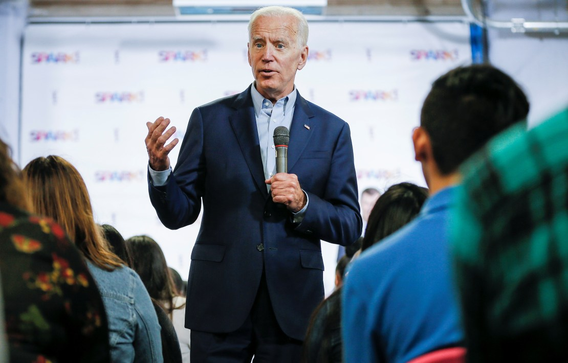 Democratic 2020 U.S. Presidential candidate Joe Biden campaigns at the SPARK! educational center in Dallas