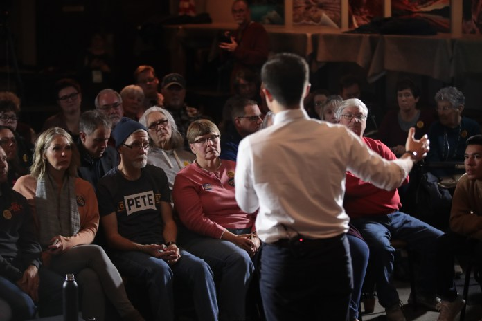 DENISON, IOWA - NOVEMBER 26: Democratic presidential candidate South Bend, Indiana Mayor Pete Buttigieg speaks to guests during a campaign stop at Cronk's restaurant on November 26, 2019 in Denison, Iowa. The 2020 Iowa Democratic caucuses will take place on February 3, 2020, making it the first nominating contest for the Democratic Party in choosing their presidential candidate to face Donald Trump in the 2020 election. (Photo by Scott Olson/Getty Images)
