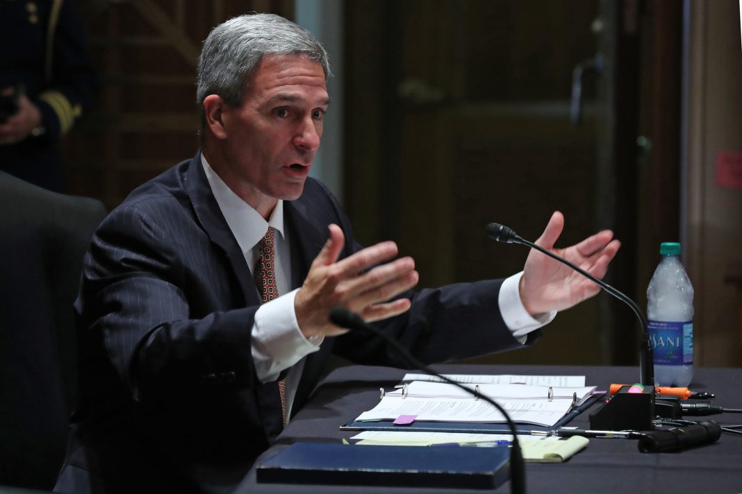 Acting Deputy Secretary of Homeland Security Ken Cuccinelli testifies before the Senate on Aug. 4. (Chip Somodevilla/Getty Images)