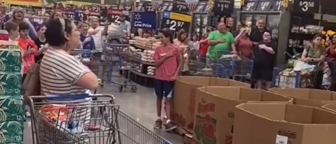 Watch: Patriotic Americans Belt Out The National Anthem In The Middle Of Walmart