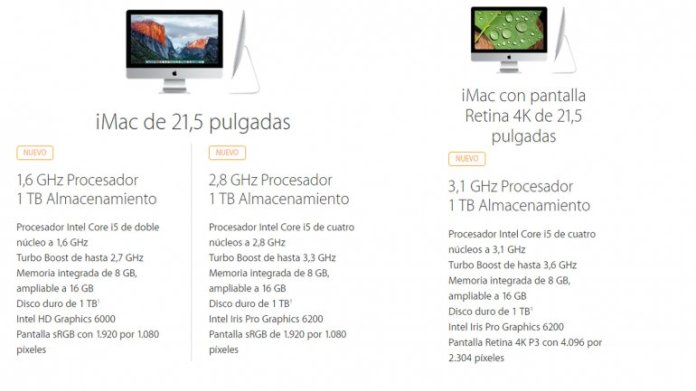 Los nuevos modelos de iMac de 21,5 pulgadas