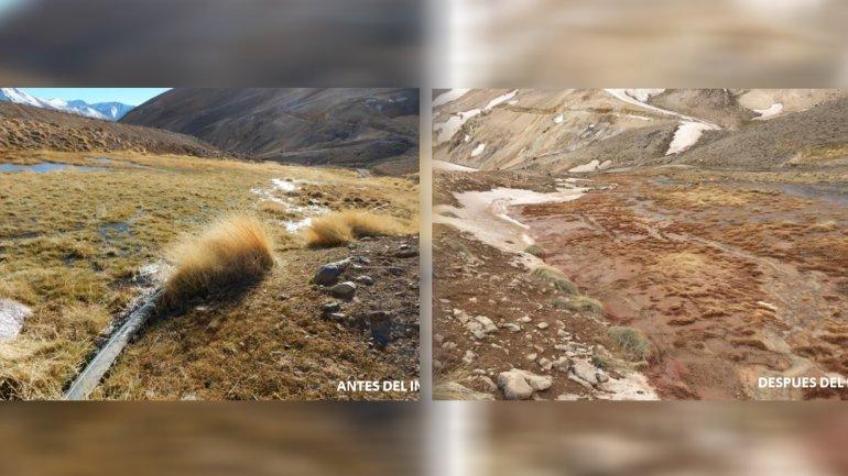 La vega del Río Portrerillos, antes y después del derrame de cianuro en la mina Veladero.