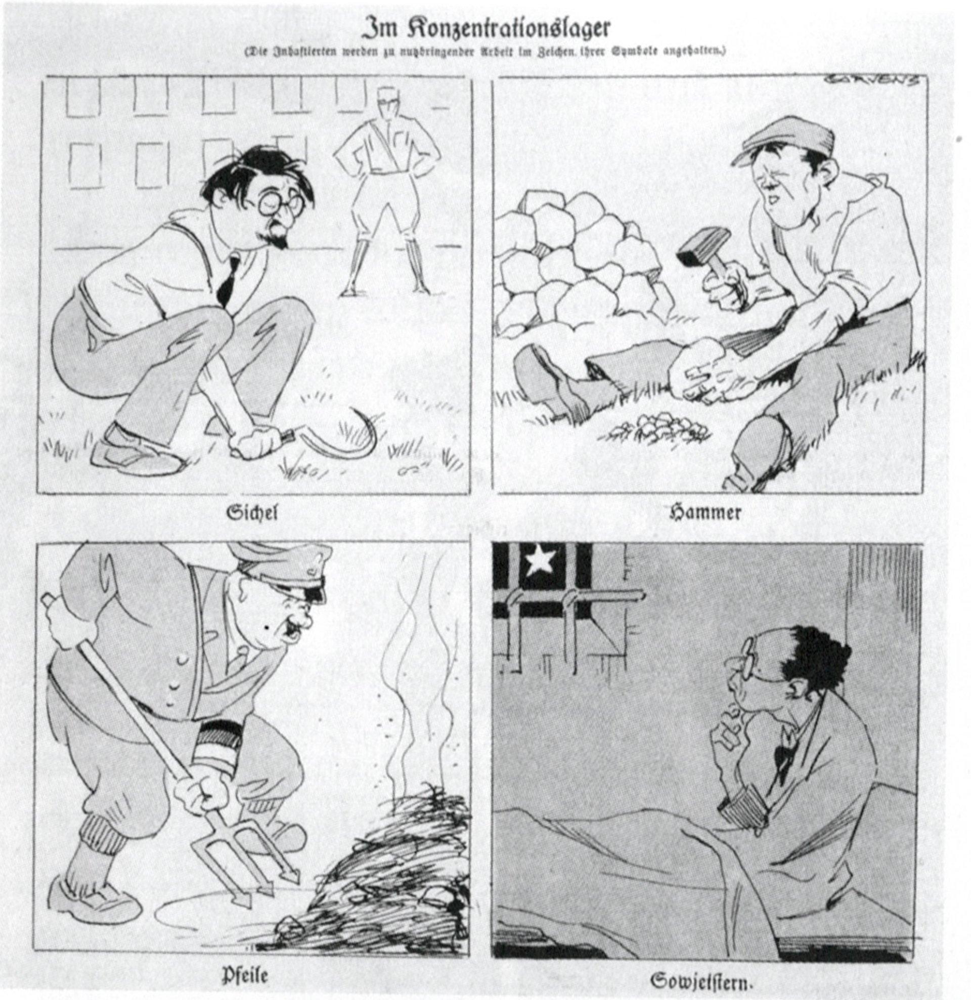 Caricatura sobre los campos de concentración publicada el 30 de abril de 1933 en una revista satírica alemana.
