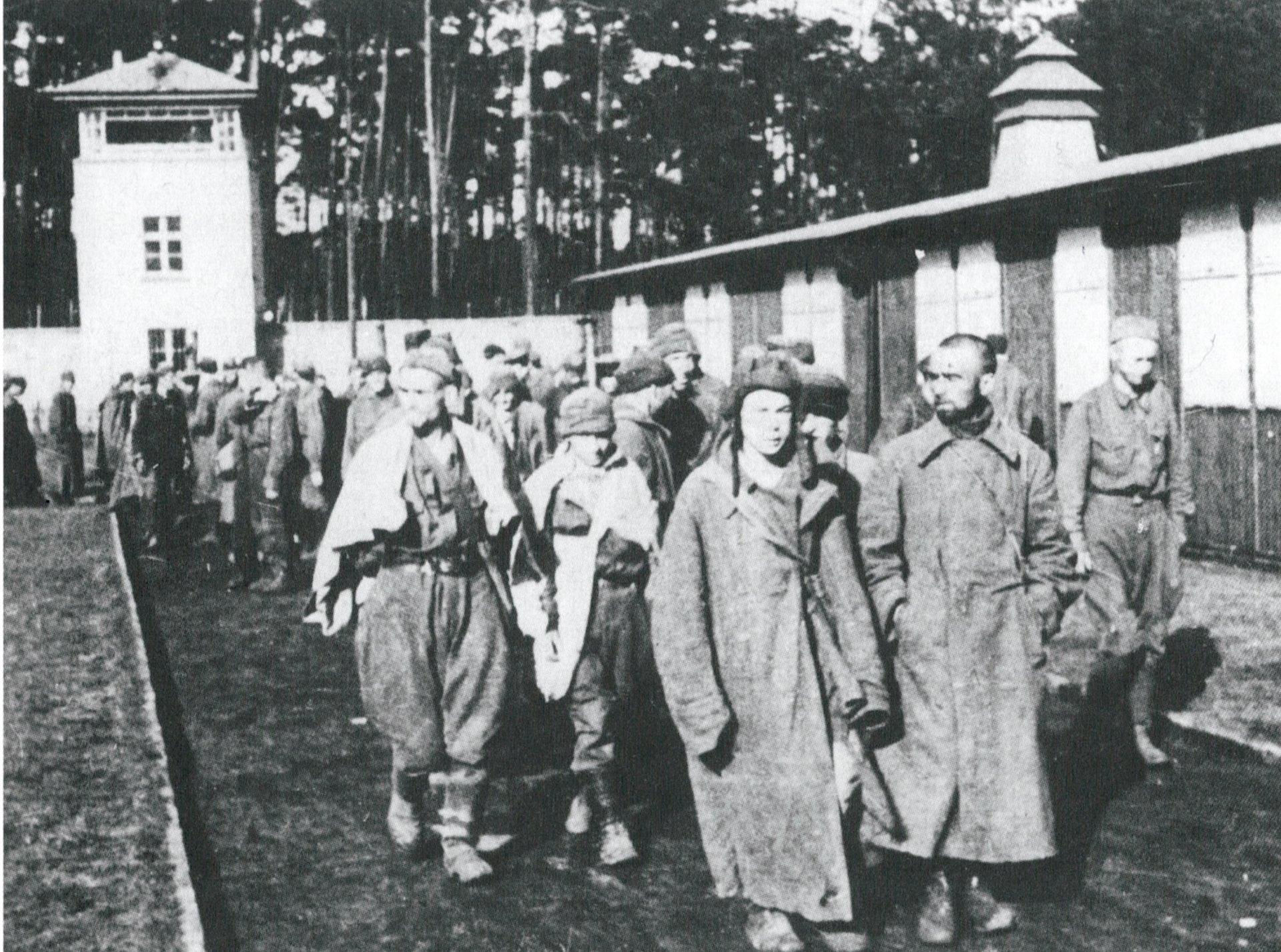 Fotografía propagandística de la llegada de un grupo de prisioneros de guerra soviéticos a Sachsenhausen en septiembre de 1941. En los meses siguientes, la SS ejecutó a unos cuarenta mil judíos en los campos de concentración.