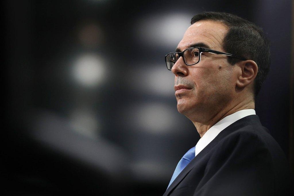 WASHINGTON, DC - JUNE 12:  U.S. Treasury Secretary Steven Mnuchin testifies before the House Appropriations Committee's Financial Services and General Government Subcommittee in the Rayburn House Office Building on Capitol Hill June 12, 2017 in Washington, DC. Secretary Mnuchin testified about the Treasury Department's proposed 2018 budget.  (Photo by Chip Somodevilla/Getty Images)