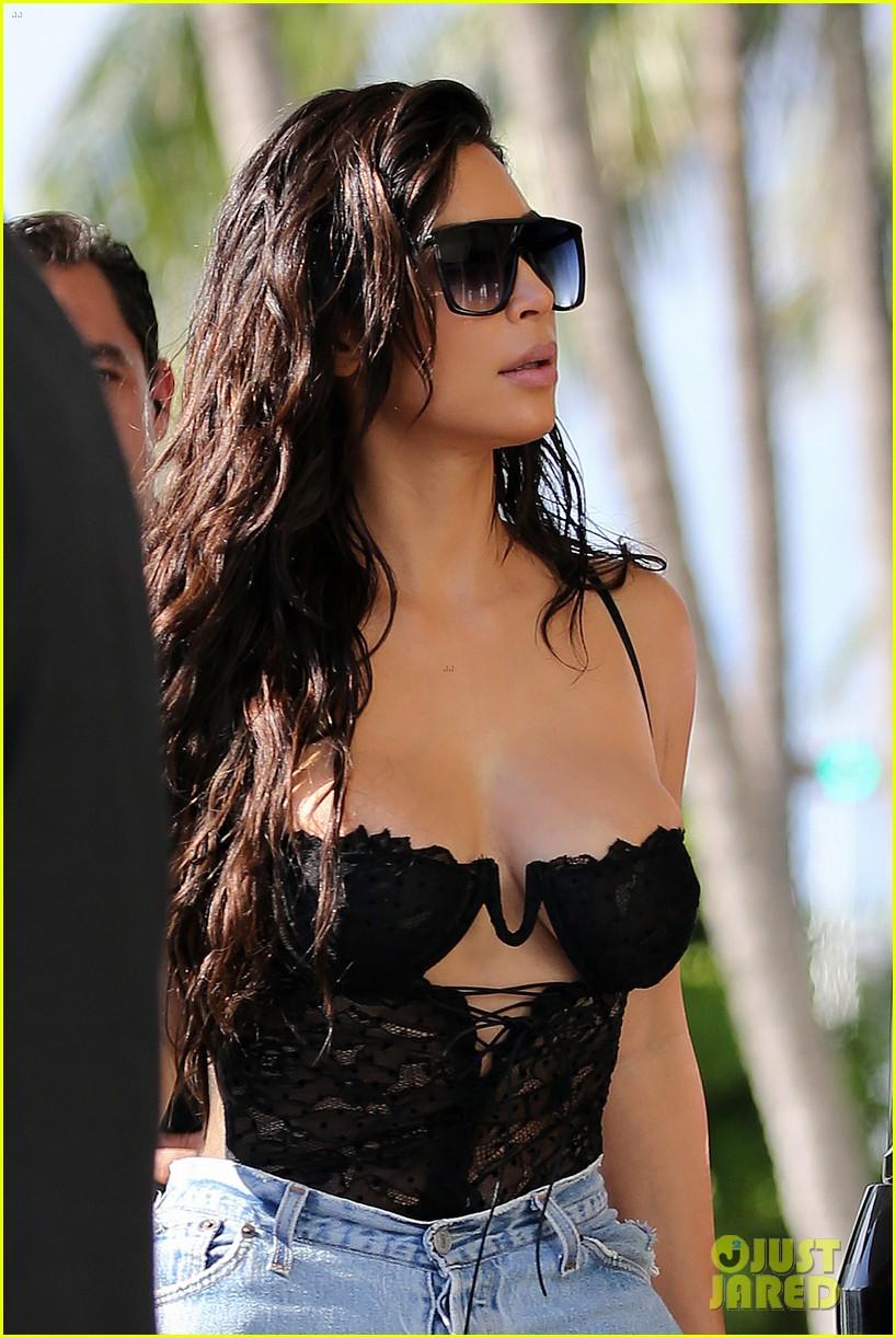 Kim Kardashian Wears Lace Corset Amp Jeans For Miami Outing