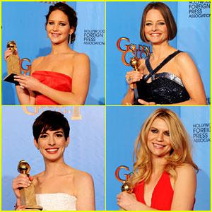 Jennifer Lawrence, Jodie Foster, Anne Hathaway, Claire Danes toutes récompensées lors des Golden Globe Awards
