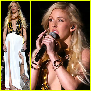 Ellie Goulding Performs 'Beating Heart' Barefoot On Stage at MTV Movie Awards 2014! (Video)