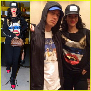 Rihanna Touches Down In NYC After Rehearsing With Eminem