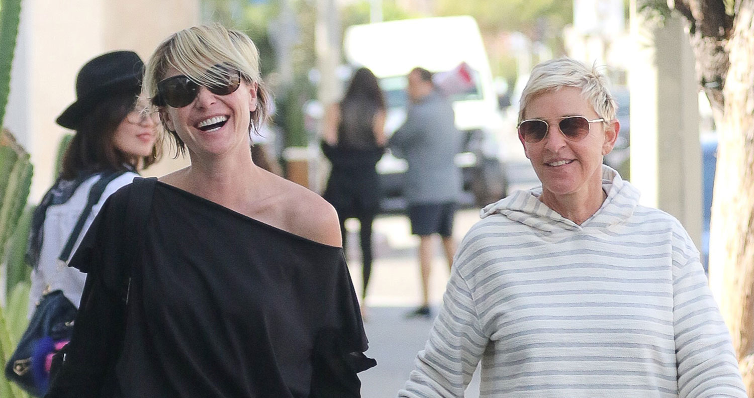 Ellen DeGeneres & Portia De Rossi Hold Hands While
