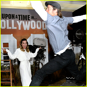 Brad Pitt Hilariously Photobombs Margot Robbie During 'Once Upon a Time in Hollywood' Photo Call!