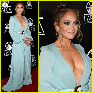 Jennifer Lopez Wows in Plunging Gown for LAFCA 2020