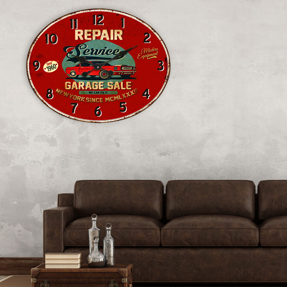 vintage wall clock in dark red with imprint for your living room