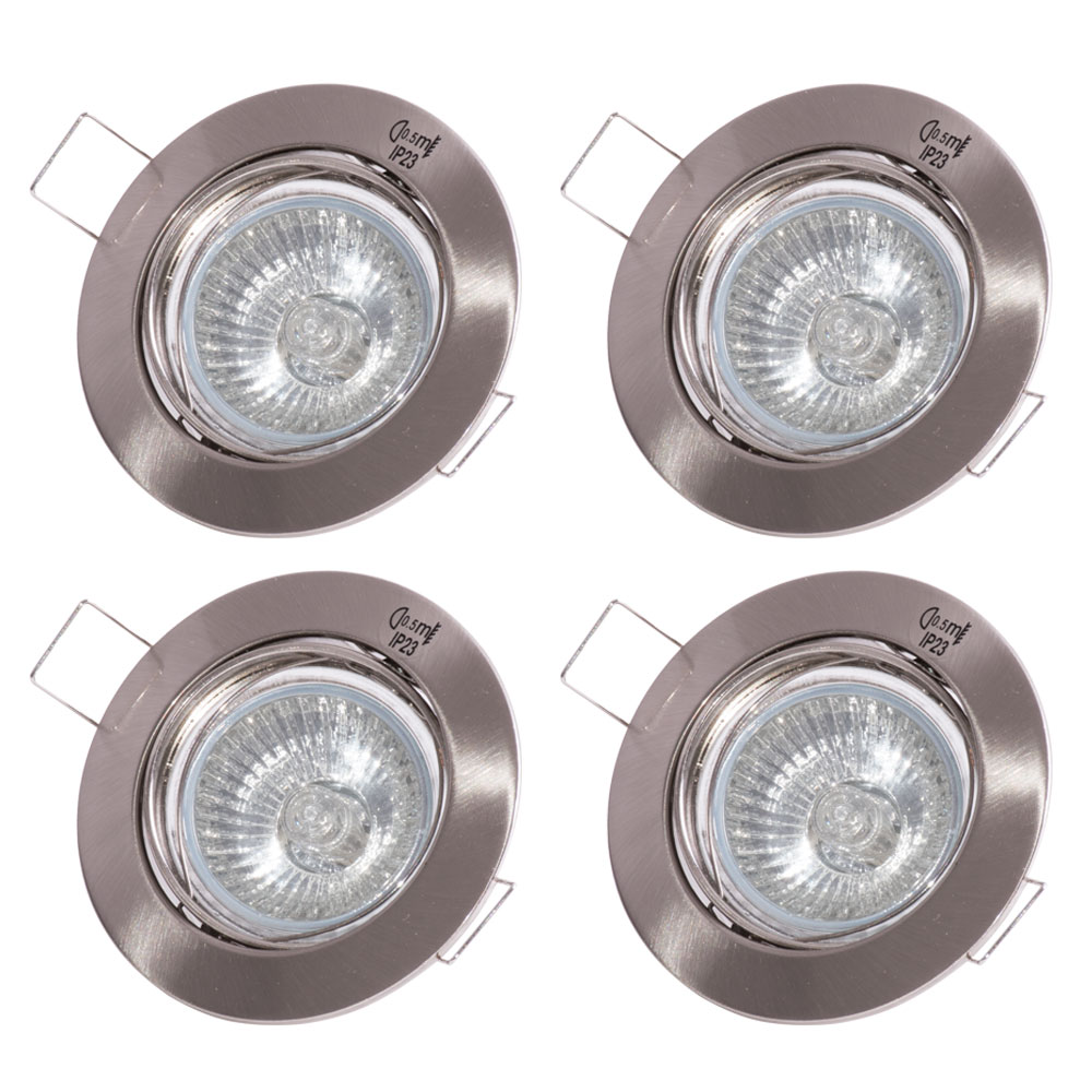set of 4 rgb led recessed spotlights in silver with remote control