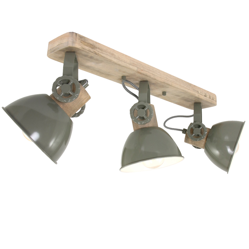 ceiling lamp in metal and wood movable green gearwood
