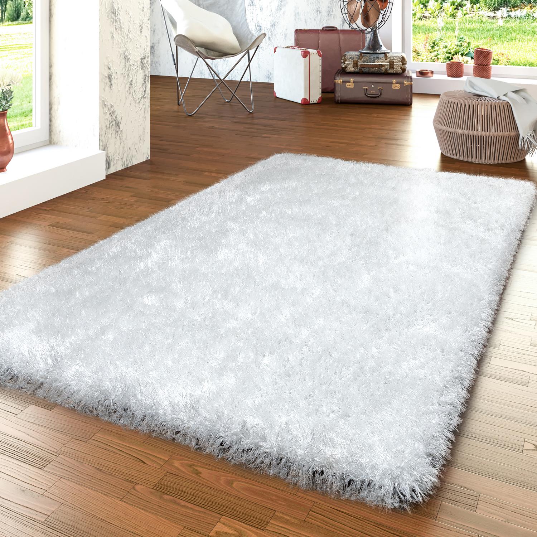 details sur tapis moderne salon poils longs shaggy uni avec fil brillant blanc