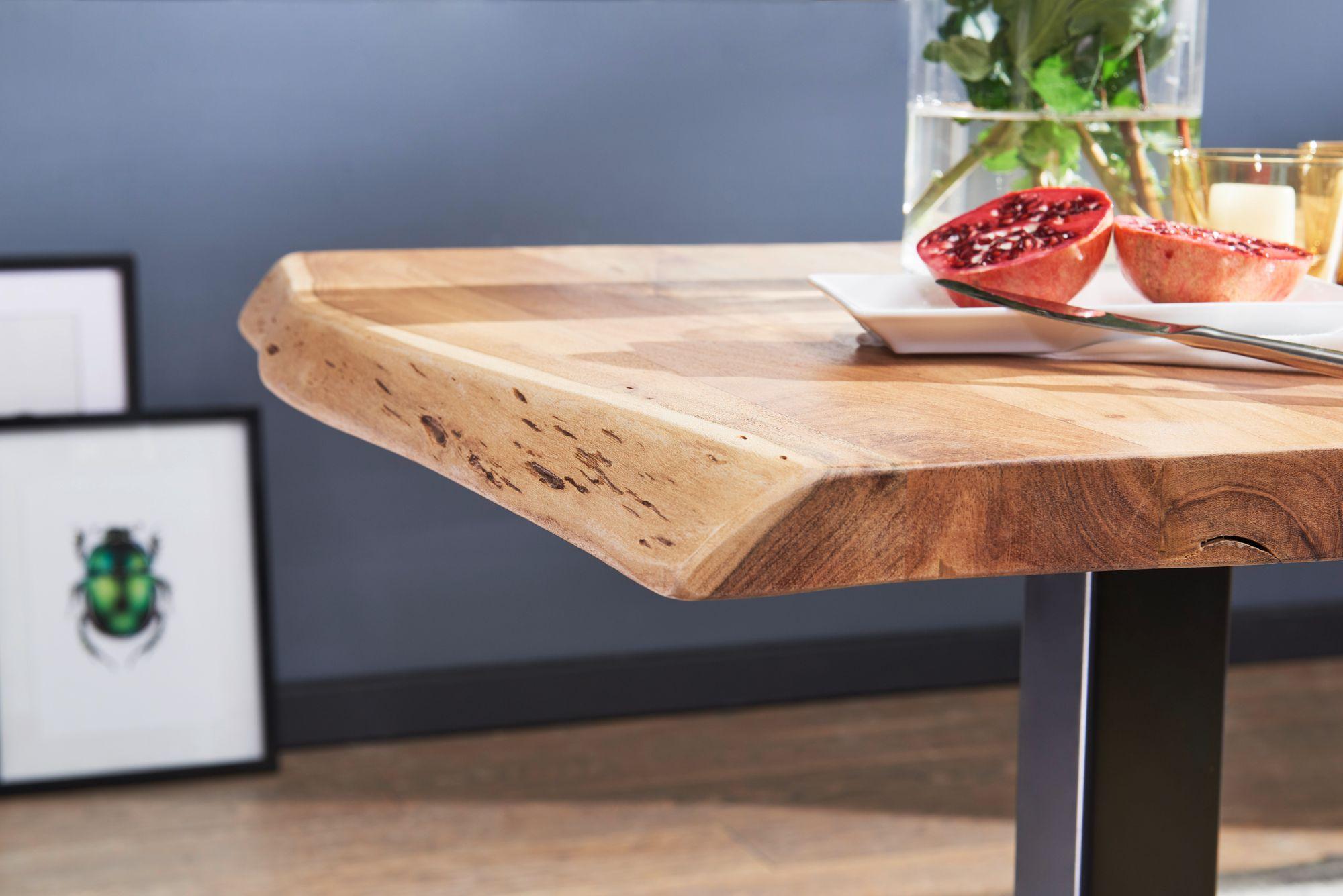 Finebuy Esstisch Baumkante 80 X 75 X 75 Cm Akazie Massivholz Esszimmertisch Kleiner Holztisch Esszimmer