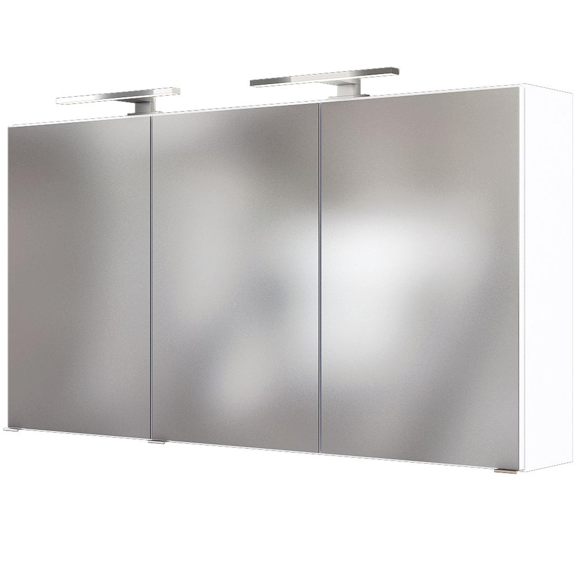 Bad Spiegelschrank 3 Turig Mit Beleuchtung 120 Cm Breit Weiss Moebel Guenstig De