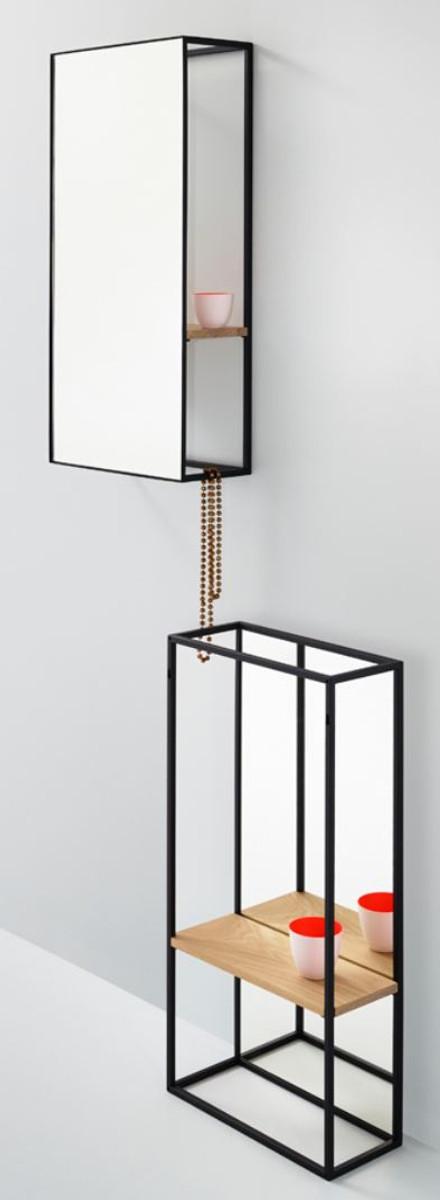 casa padrino miroir mural de luxe avec etagere 40 x 17 x h 80 cm miroir design
