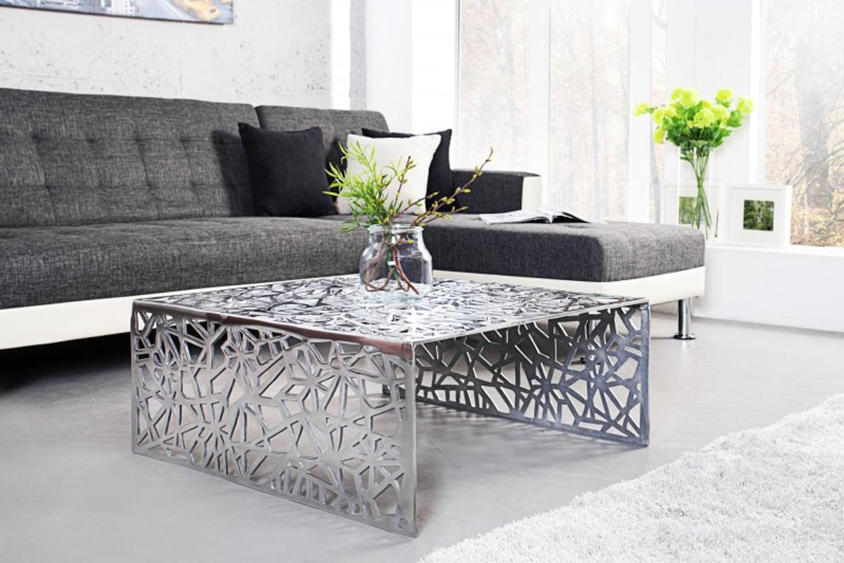 casa padrino art deco table basse en metal argente 75 x 35 cm art nouveau table salon meuble