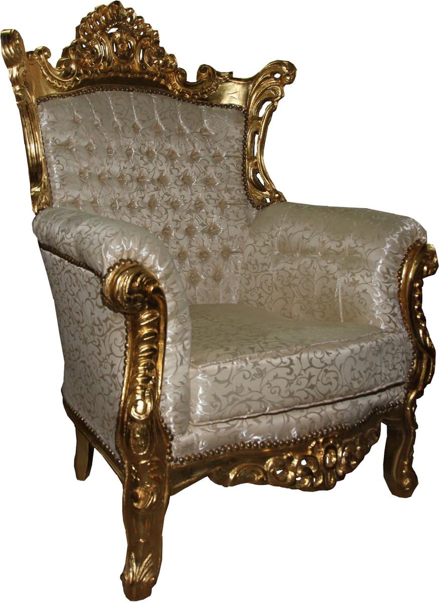 Casa Padrino Fauteuil Baroque Al Capone Mod3 Creme Or Meubles Style Antique Edition Limitee