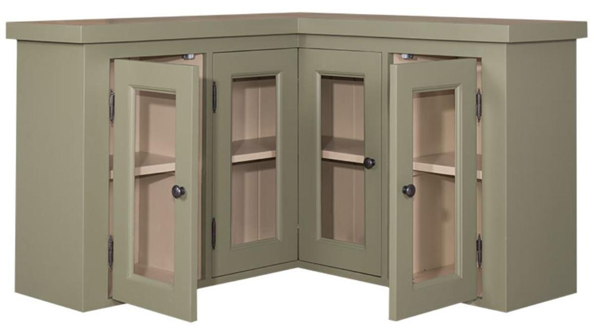 casa padrino armoire de cuisine de style country meuble d angle vert beige 98 x 98 x h 65 cm meuble mural de style country avec 3 portes vitrees