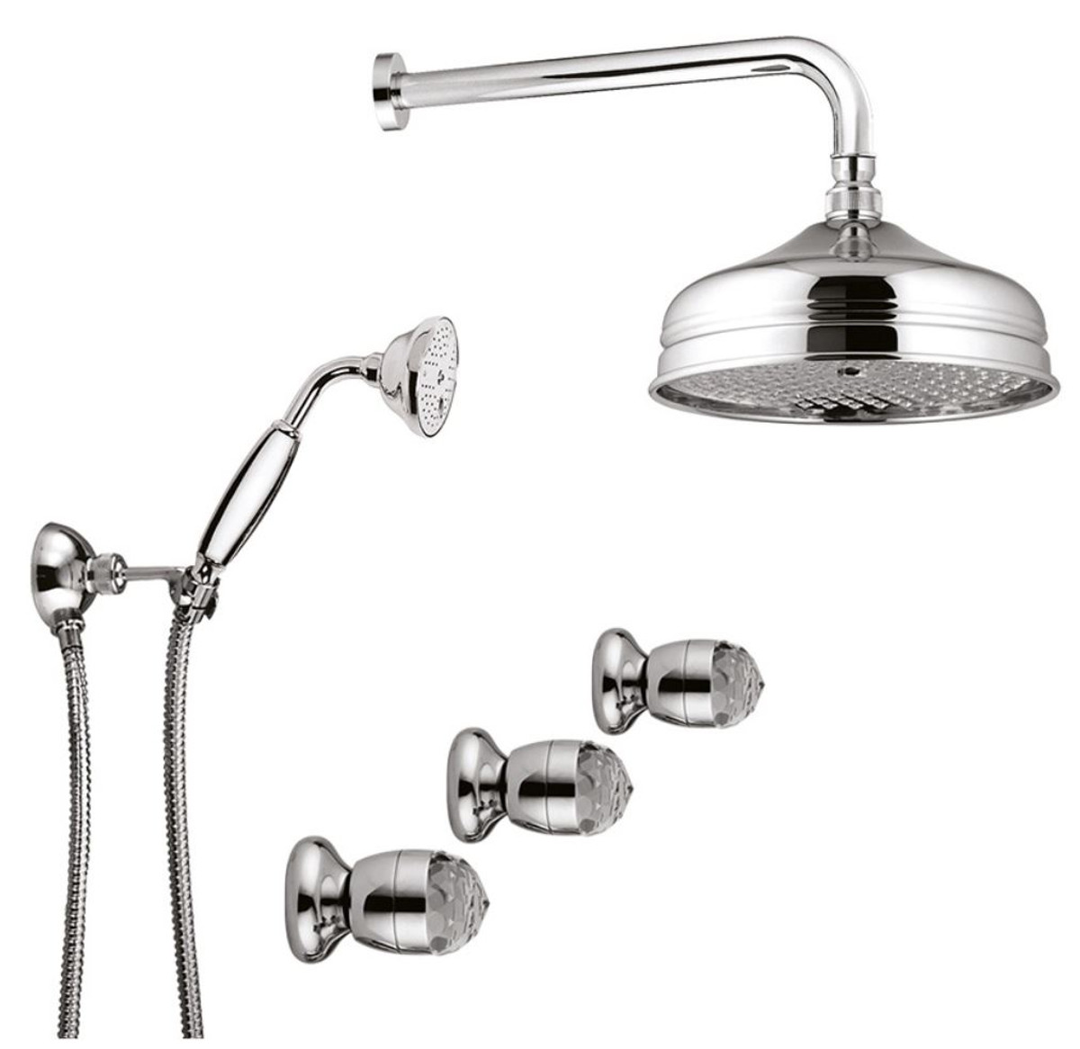 luxury bathroom faucets duplex shower set with swarovski crystal glass silver luxury shower set made in italy