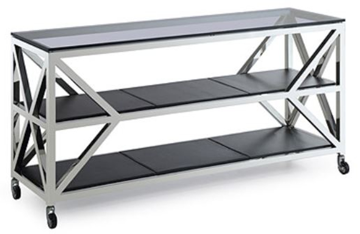 casa padrino luxury console table silver black 150 x 45 x h 75 cm living room console with wheels