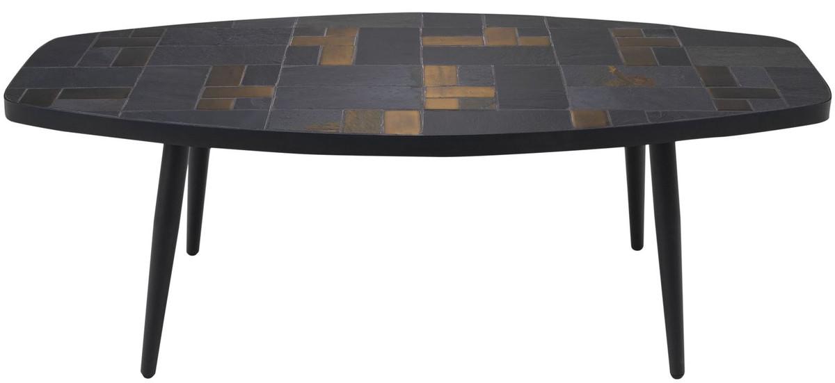 casa padrino luxury living room table multicolor black 120 x 60 x h 40 cm coffee table with slate tiles ceramic tiles
