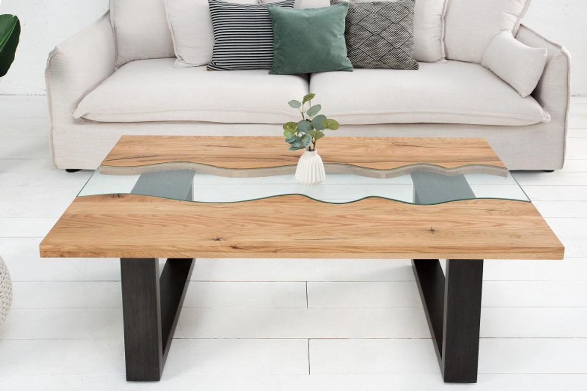 casa padrino designer solid wood sheesham coffee table natural brown 110 x h 40 cm living room table