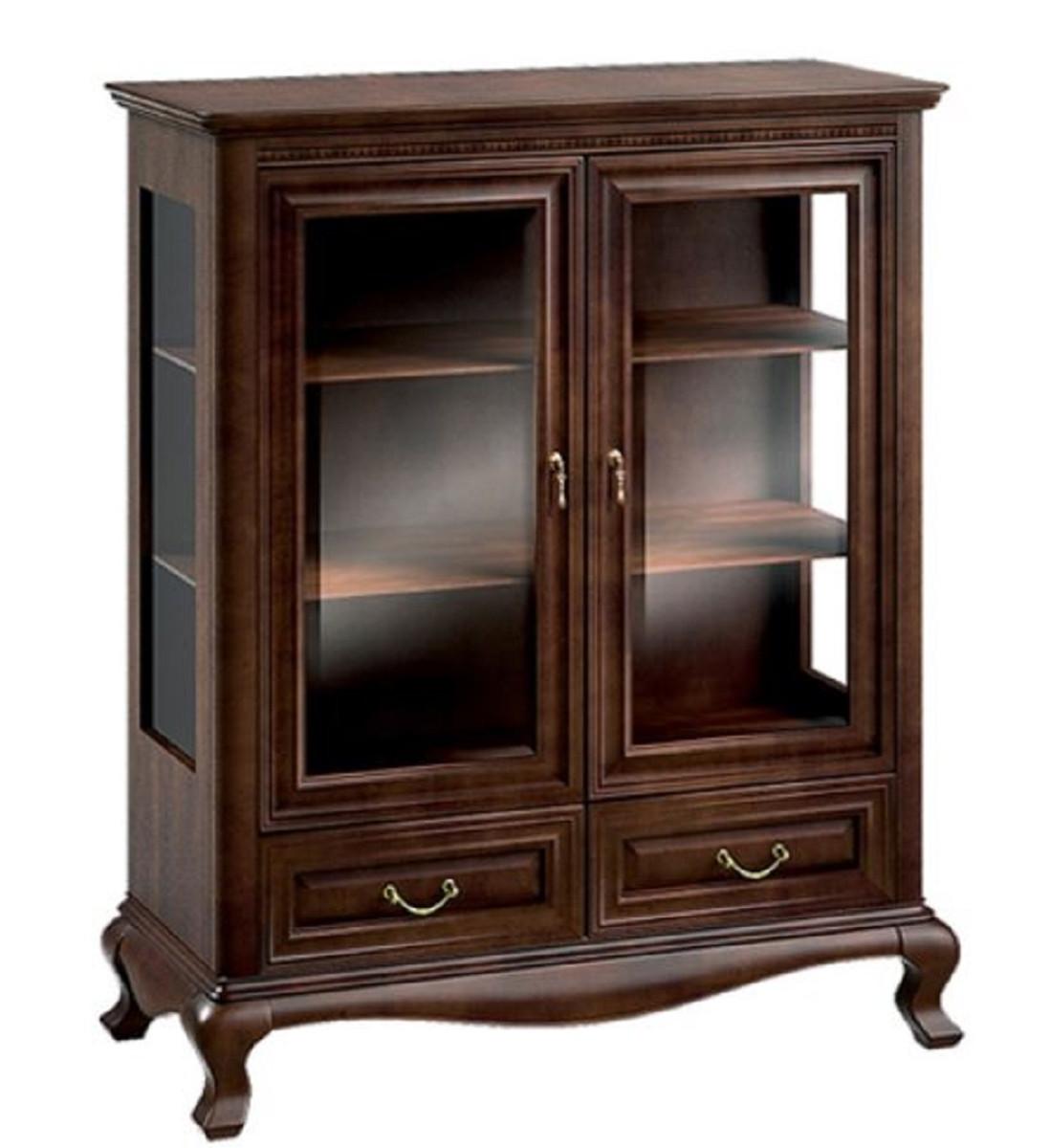 casa padrino armoire de salon art nouveau de luxe brun fonce 105 3 x 45 6 x h 129 9 cm armoire en bois massif a 2 portes en verre et 2 tiroirs