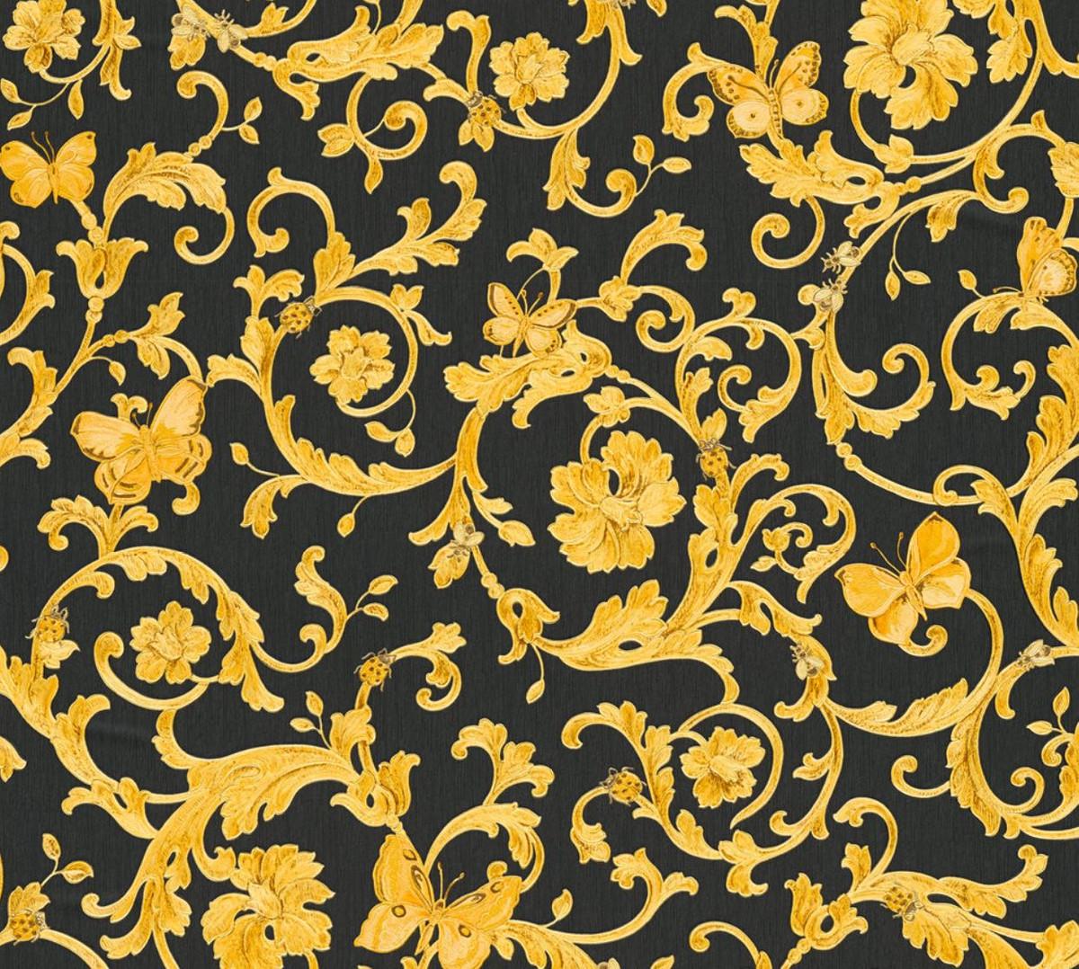 versace papier peint non tisses baroque designer butterfly barocco 343252 noir jaune or papier peint design qualite de luxe