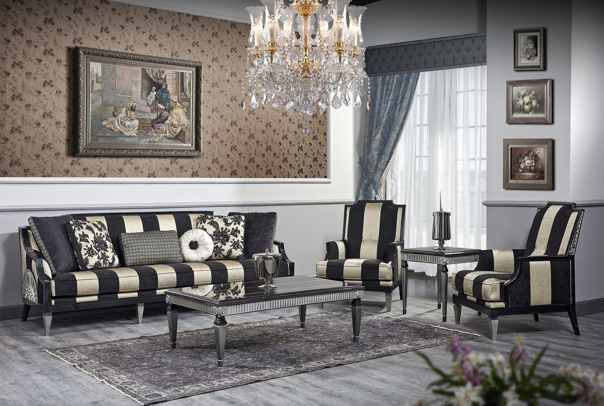 casa padrino luxury baroque living room set black gold silver 1 sofa 2 armchairs 1 coffee table 1 side table baroque furniture