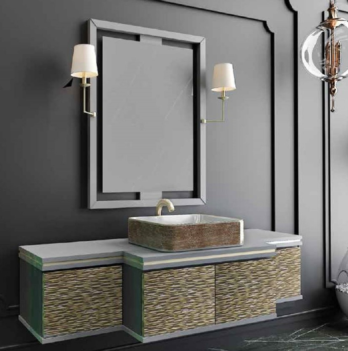 Casa Padrino Luxury Bathroom Set Gray Gold Black 1 Vanity Unit With 4 Doors And 1 Sink And 1 Wall Mirror With 2 Wall Lamps Luxury Collection Free Standing Bathtubs Bathroom Furniture Bathroom Furniture