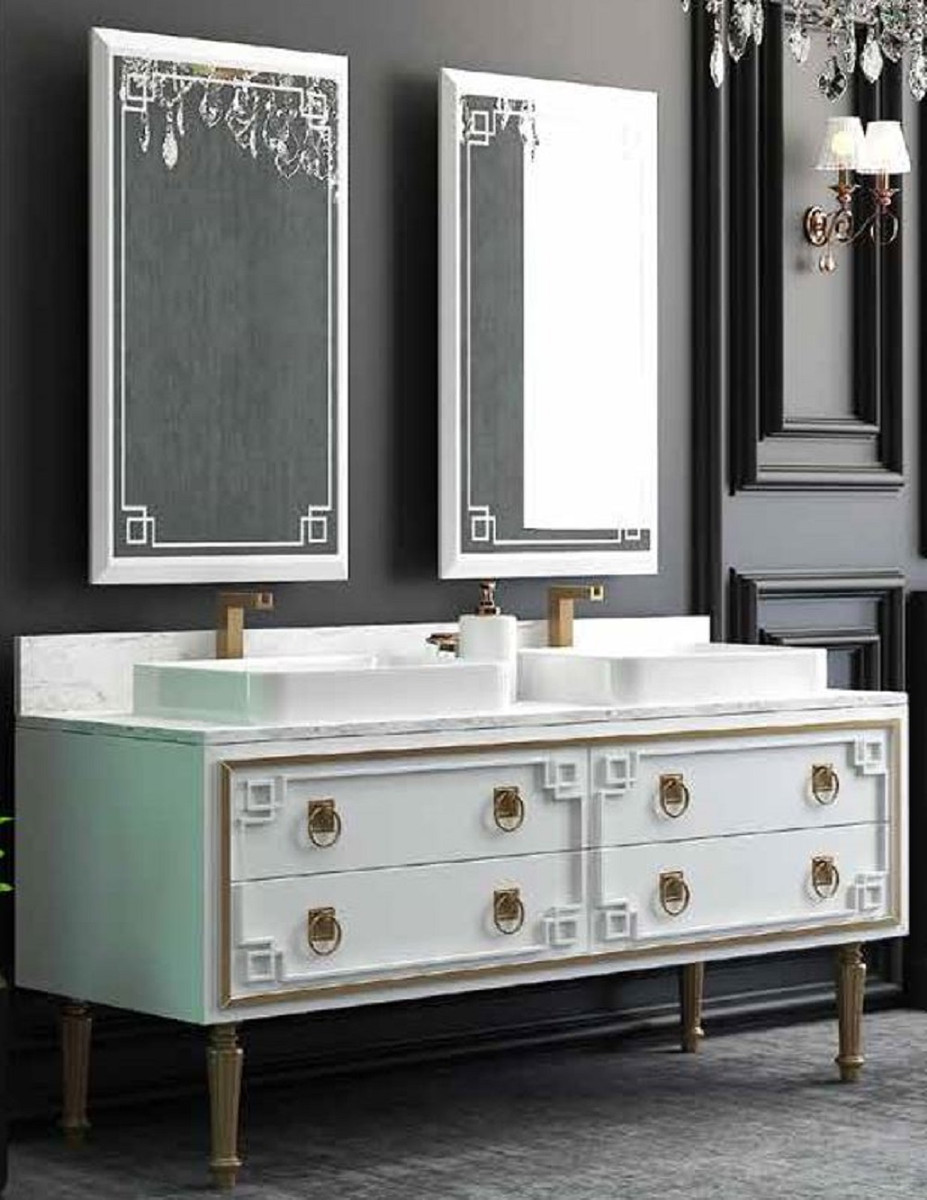 Casa Padrino Luxus Badezimmer Set Weiss Gold 1 Waschtisch Mit 4 Schubladen Und 2 Waschbecken Und 2 Wandspiegel Luxus Badezimmermobel Ceres Webshop