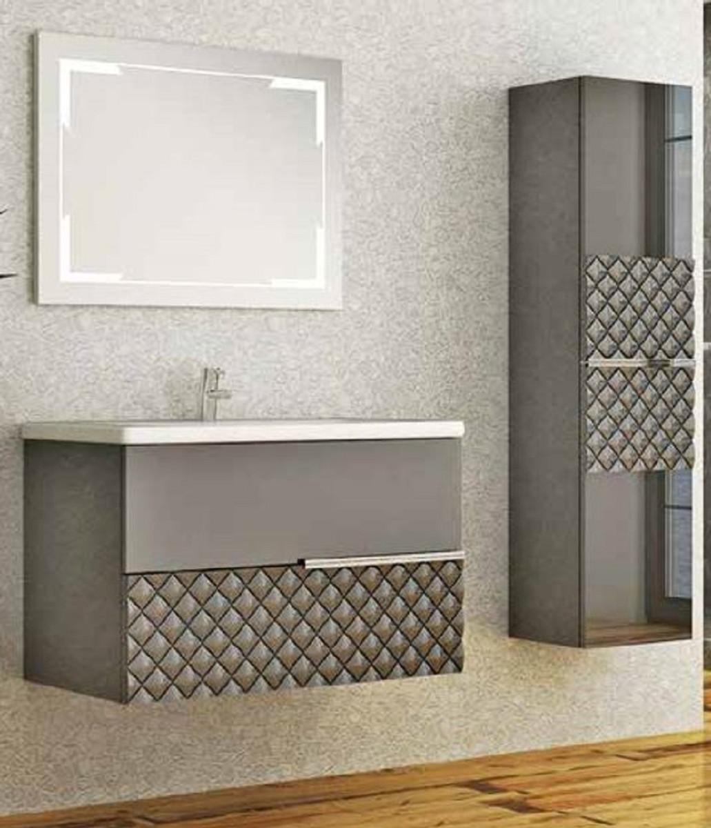 Casa Padrino Luxus Badezimmer Set Grau Schwarz 1 Waschtisch Und 1 Waschbecken Und 1 Led Wandspiegel Und 1 Hangeschrank Luxus Kollektion Freistehende Badewannen Badezimmer Mobel Badezimmer Mobel