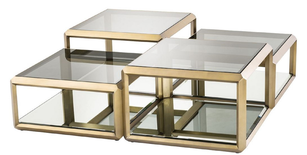casa padrino luxury coffee table brass 75 x 75 x h 48 cm stainless steel coffee table with glass tops and mirror glass luxury living room